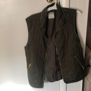Women's old navy green and gold quilted vest